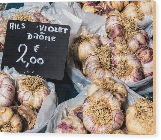 Garlic Two Euros Wood Print