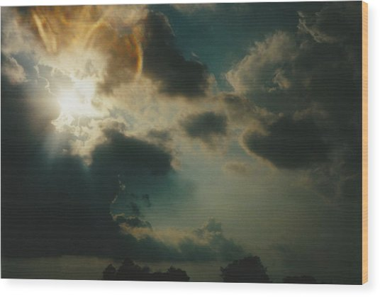 Gary Indiana Storm On The Rise Wood Print by Gene Linder