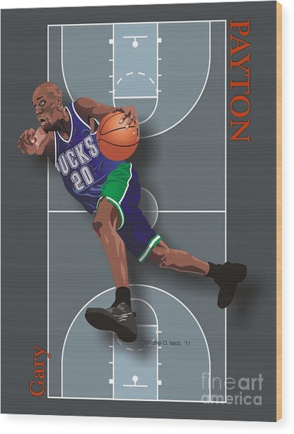 Gary Payton Wood Print by Walter Oliver Neal