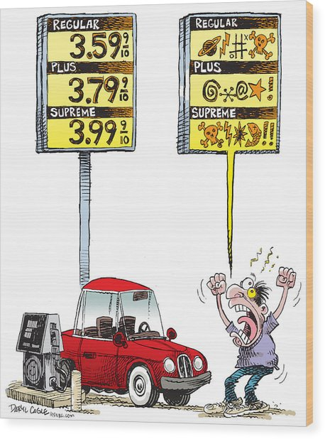 Gas Price Curse Wood Print