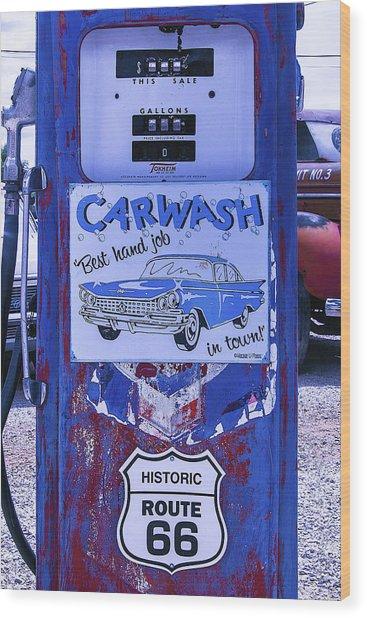 Gas Pump Route 66 Wood Print