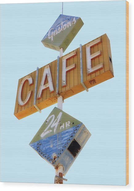 Wood Print featuring the photograph Gaston's Cafe Neon Sign by Gigi Ebert