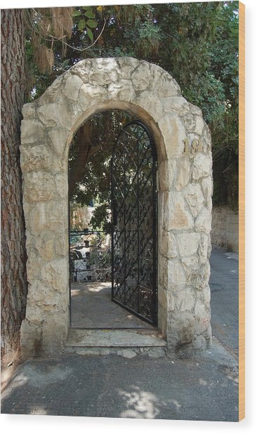 Gate In Rehavia I Wood Print by Susan Heller