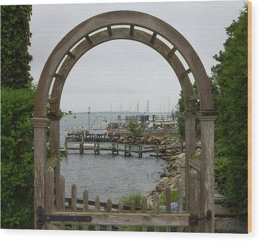Gate To Noank Harbor Wood Print