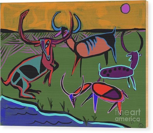 Gathering Herd Wood Print