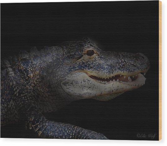 Gator In Black Wood Print