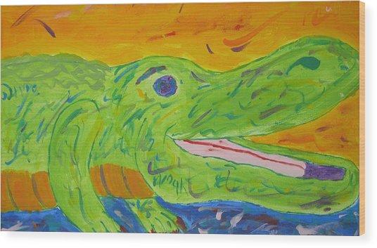 Gator In Bloom Wood Print