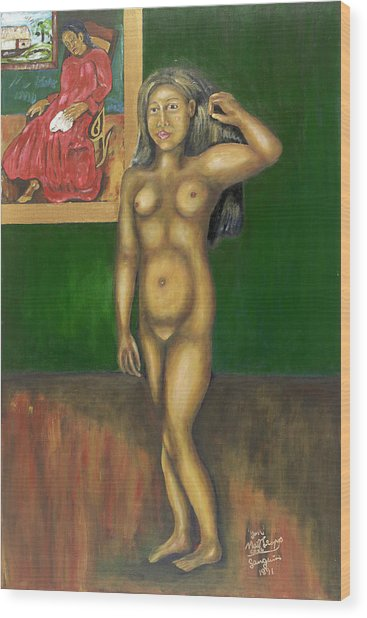 Gauguin Backgrounded Wood Print by Neil Trapp