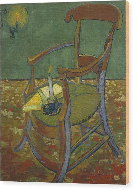 Wood Print featuring the painting Gauguin's Chair by Van Gogh
