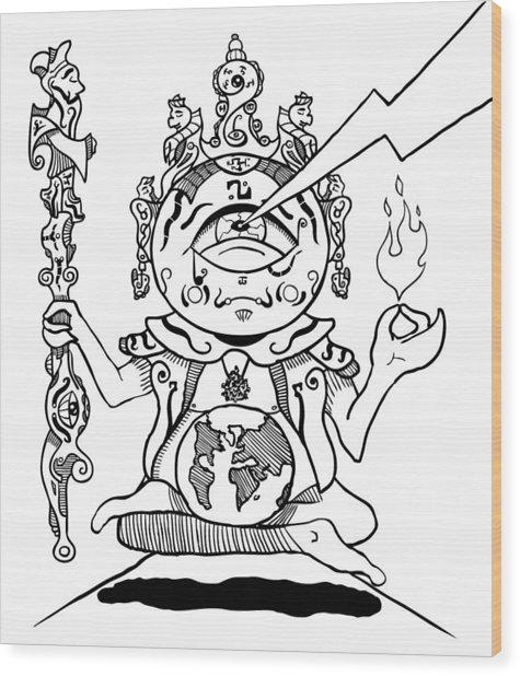 Gautama Buddha Black And White Wood Print