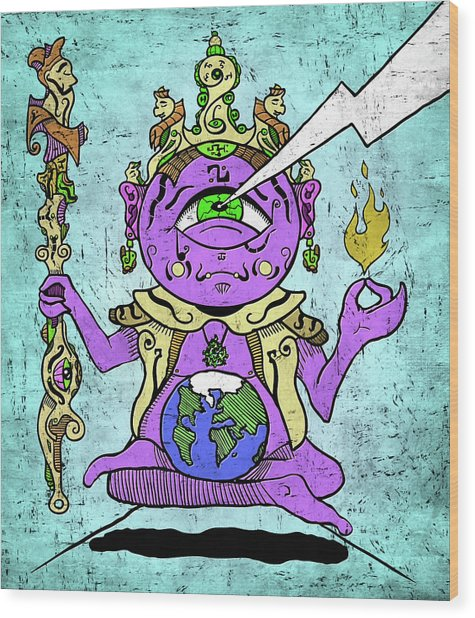 Gautama Buddha Colour Illustration Wood Print