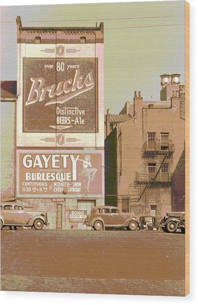 Gayety Burlesque Parking Wood Print