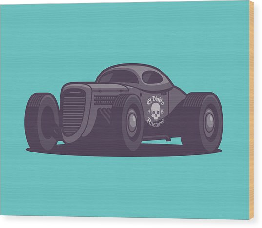 Gaz Gl1 Custom Vintage Hot Rod Classic Street Racer Car - Aqua Wood Print