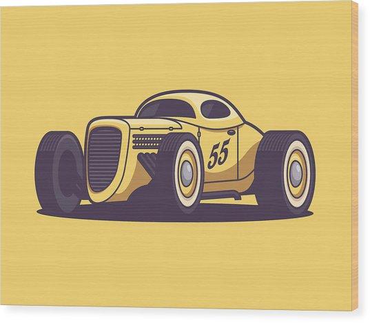 Gaz Gl1 Custom Vintage Hot Rod Classic Street Racer Car - Yellow Wood Print