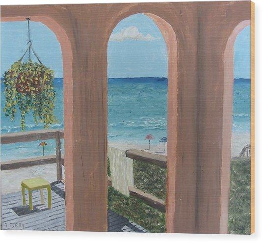 Gazebo At Blue Mountain Beach Wood Print by John Terry