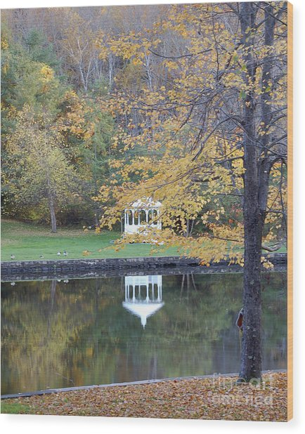 Gazebo Reflection Wood Print by Faith Harron Boudreau