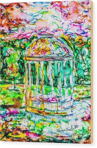 Gazebo Sunset Wood Print