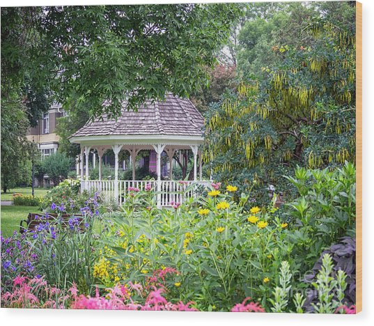 Wood Print featuring the photograph Gazebo With Summer Blooms by Kari Yearous