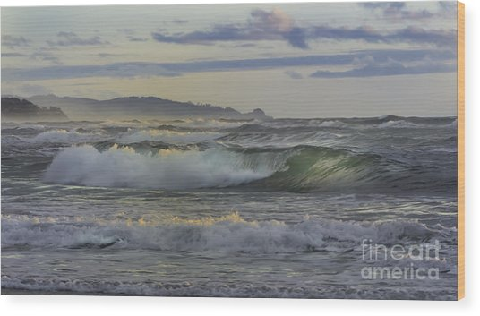 Gazing At The Ocean Surf Wood Print