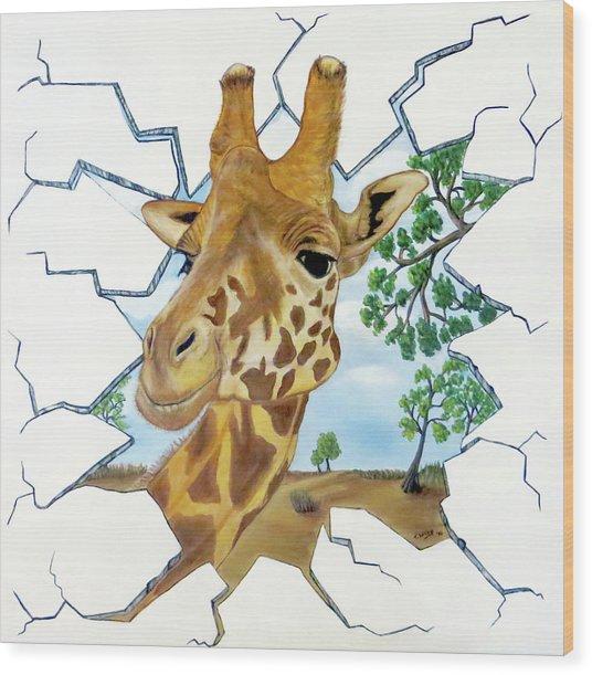 Gazing Giraffe Wood Print