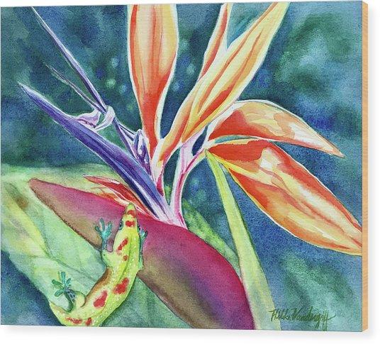 Gecko On Bird Of Paradise Wood Print