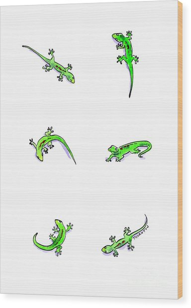 Gecko Play Wood Print
