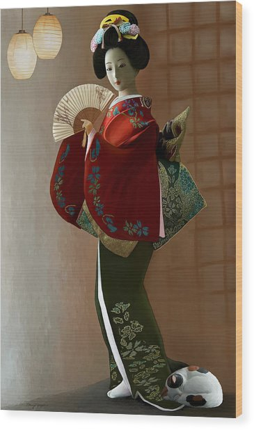 Geisha And Cat Wood Print by Thanh Thuy Nguyen