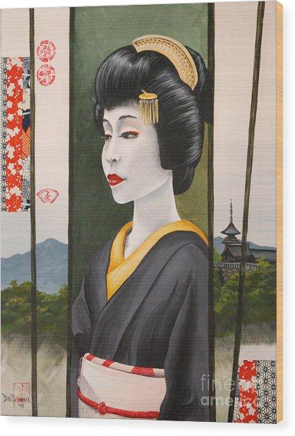 Geisha Wood Print by Dee Youmans-Miller