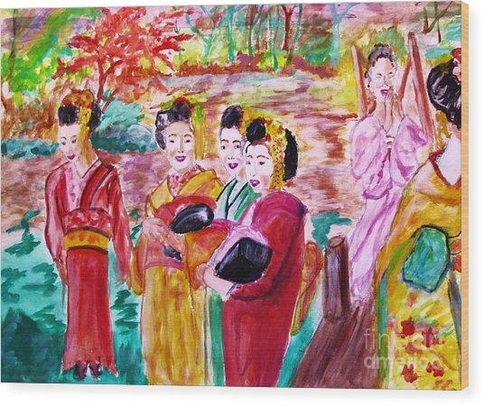 Geisha Girl Friends Wood Print