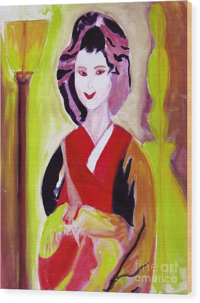Geisha Girl Portrait Painted With Picasso Style Wood Print