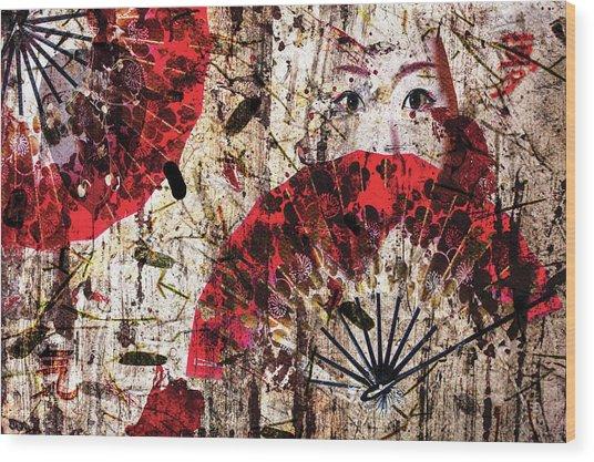 Geisha Grunge Wood Print