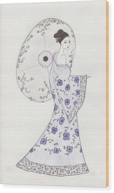 Geisha In Bloom Wood Print by Christine Corretti