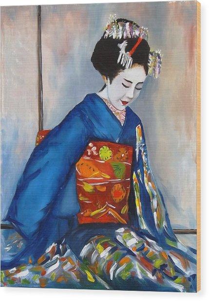 Geisha In Blue Kimono Wood Print
