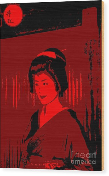 Geisha In Red Wood Print by Louise Fahy