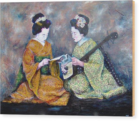 Geisha Music Lesson Wood Print