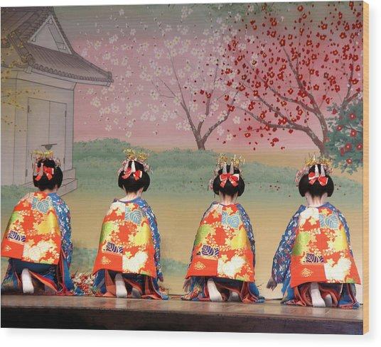 Geisha Row Wood Print
