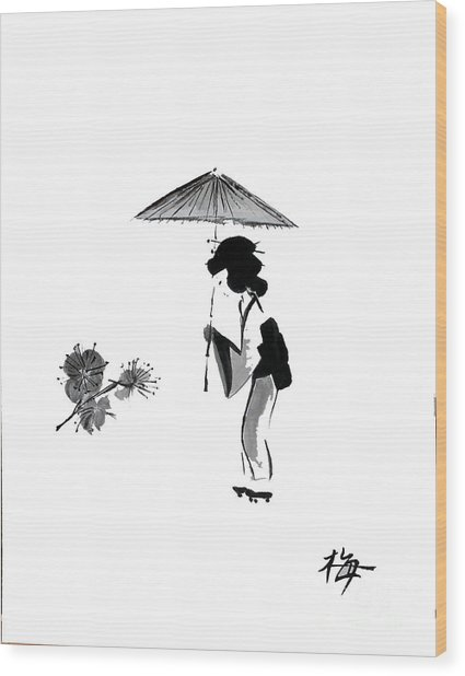 Geisha With Parasol Wood Print