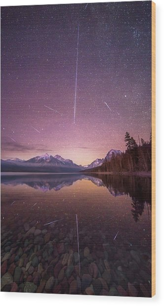 Geminid Meteor Storm // December 13th, 2017 // Lake Mcdonald, Glacier National Park Wood Print