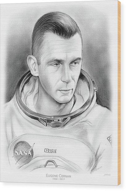 Astronaut Gene Cernan Wood Print