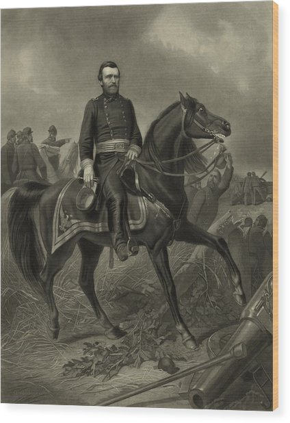 General Grant On Horseback  Wood Print
