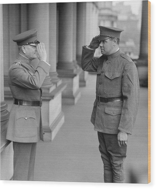 General John Pershing Saluting Babe Ruth Wood Print