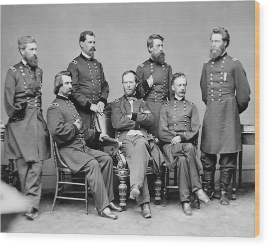 General Sherman And His Staff  Wood Print
