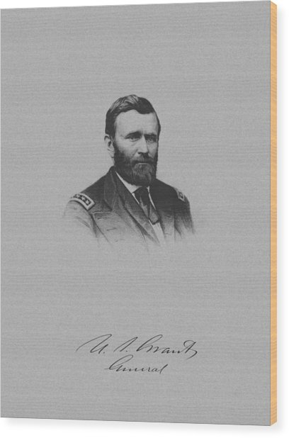 General Ulysses Grant And His Signature Wood Print