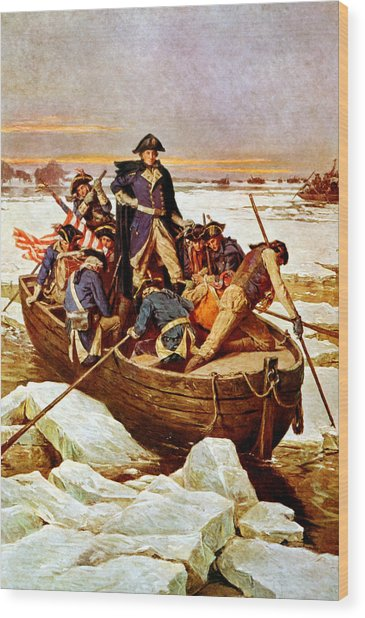 General Washington Crossing The Delaware River Wood Print