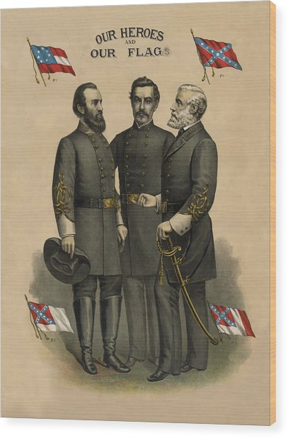 Generals Jackson Beauregard And Lee Wood Print