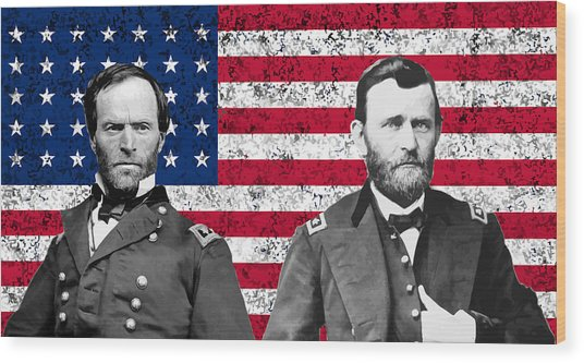 Generals Sherman And Grant  Wood Print