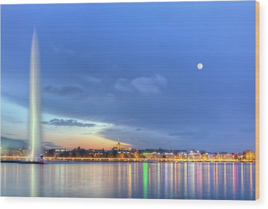 Geneva Lake With Famous Fountain, Switzerland, Hdr Wood Print