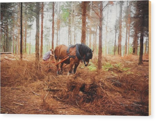 Gentle Giant - Horse At Work In Forest Wood Print