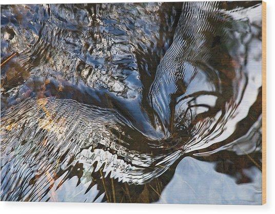 Gentle Swirl Ripple In River-3 Wood Print