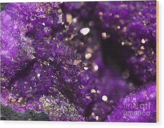 Geode Abstract Amethyst Wood Print